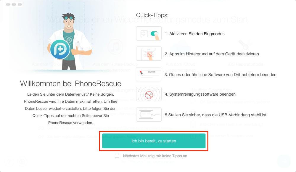 Gelöschte Kontakte über PhoneRescue wiederherstellen – Schritt 1