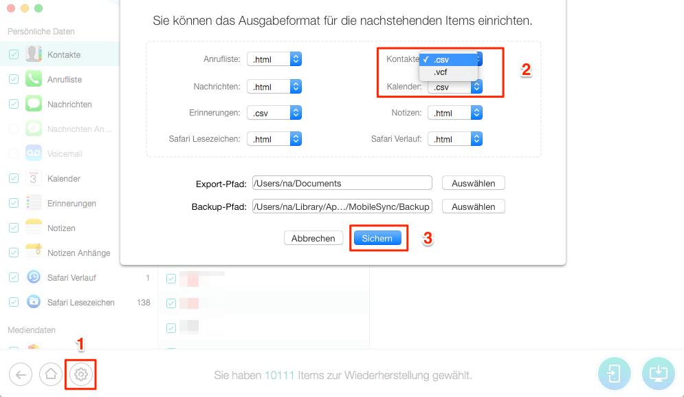 iPhone X/8/7(Plus) Kontakte wiederherstellen - Format auswählen – Schritt 3