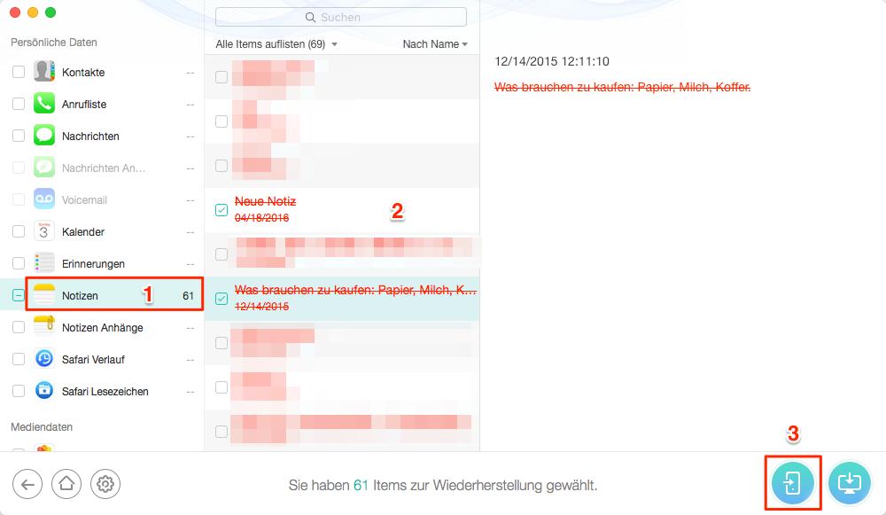iPhone X/8/7(Plus) gelöschte Notizen wiederherstellen – Schritt 3