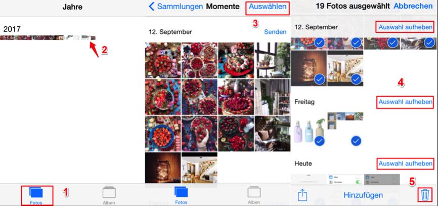 iPhone X/8 alle Bilder löschen - Momente vom iPhone löschen