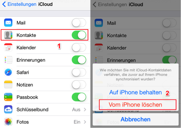 Alle Kontakte löschen iPhone X/8/7/6/5 – mit iCloud