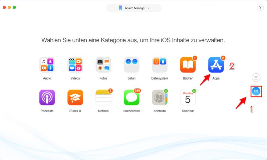 iPhone X/8 Apps löschen – AnyTrans verwenden