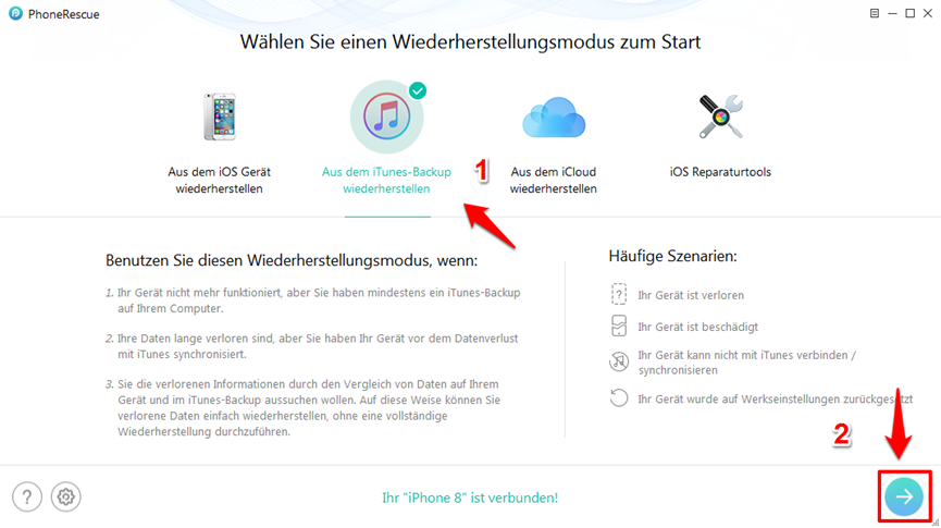 iPhone X/8 Backup wiederherstellen – Schritt 1