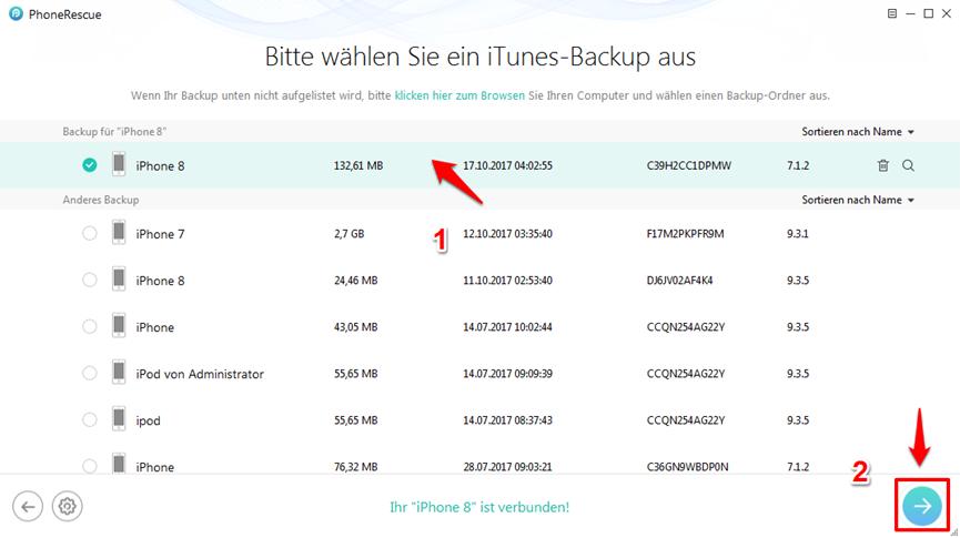 iPhone X/8 Backup wiederherstellen – Schritt 2