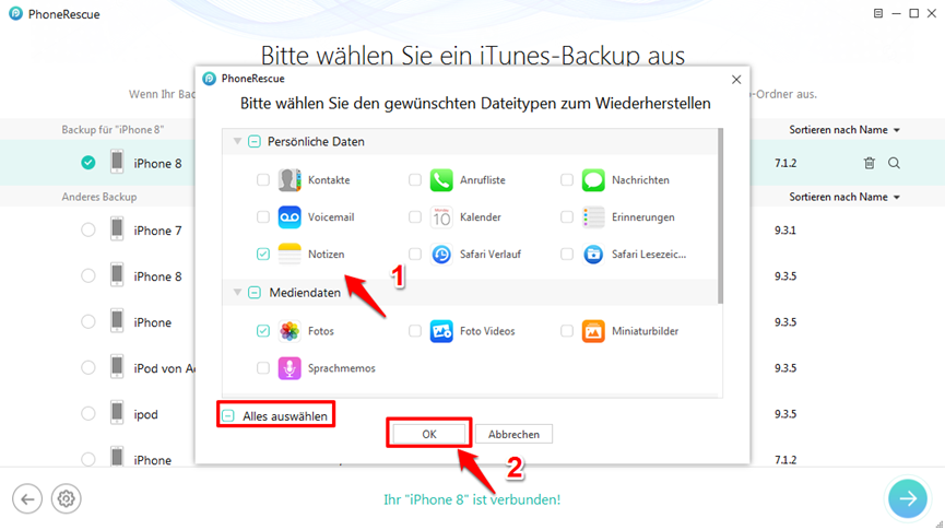 iPhone X/8 Backup wiederherstellen – Schritt 3