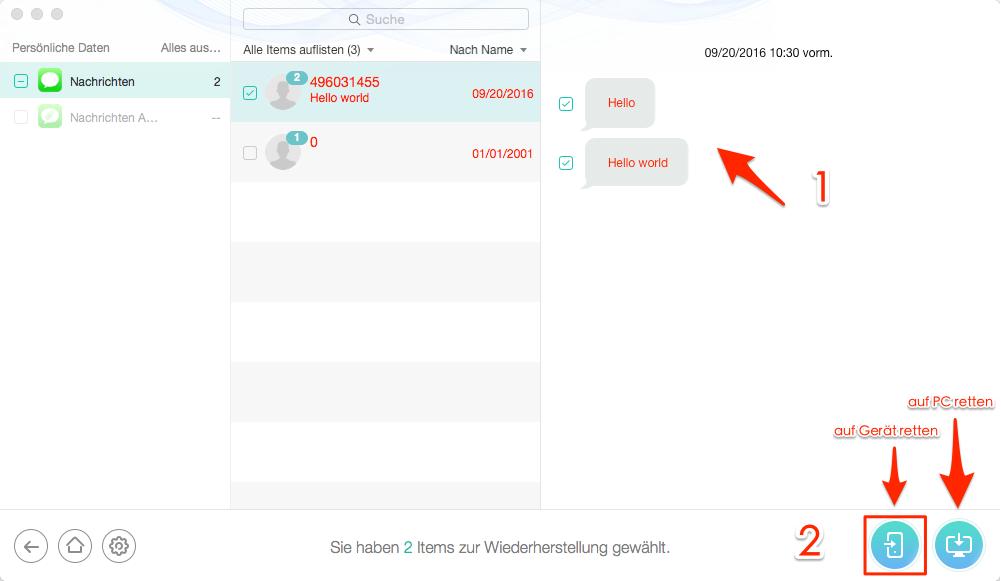 iMessage-Nachrichten wiederherstellen – auf iPhone X/8 wiederherstellen