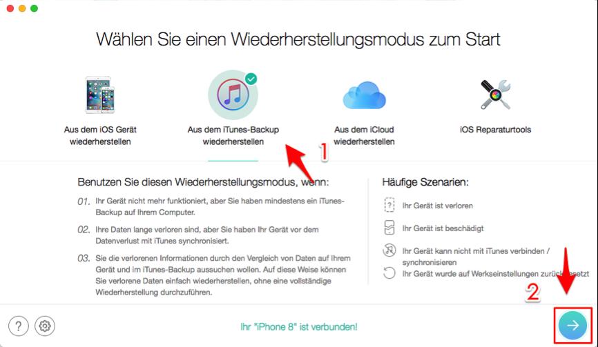 iMessage wiederherstellen – aus iTunes-Backup