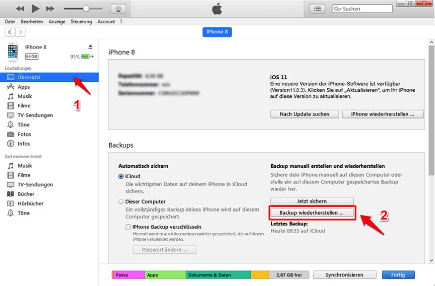 Mit iTunes – iMessage-Nachrichten wiederherstellen