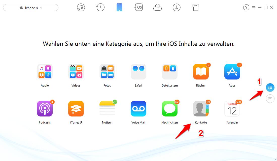 iPhone X/8 Kontakte exportieren – Kontakte auswählen