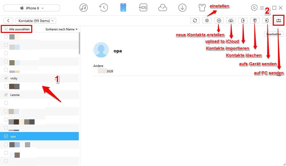 iPhone X/8 Kontakte exportieren – Kontakte am PC sichern