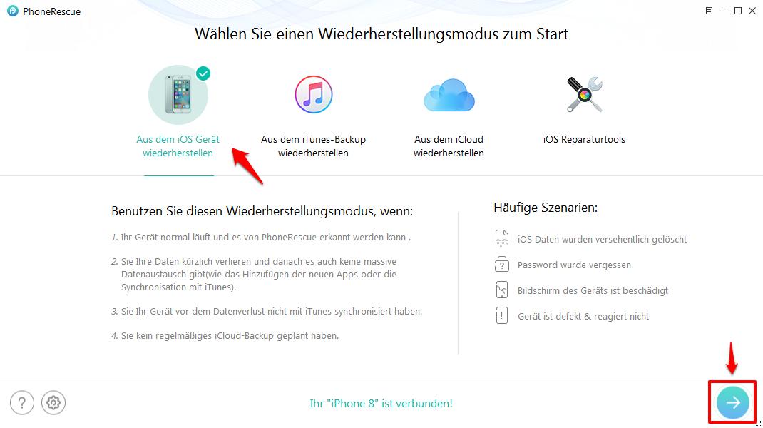 Kontakte wiederherstellen iPhone X oder 8 – PhoneRescue verwenden