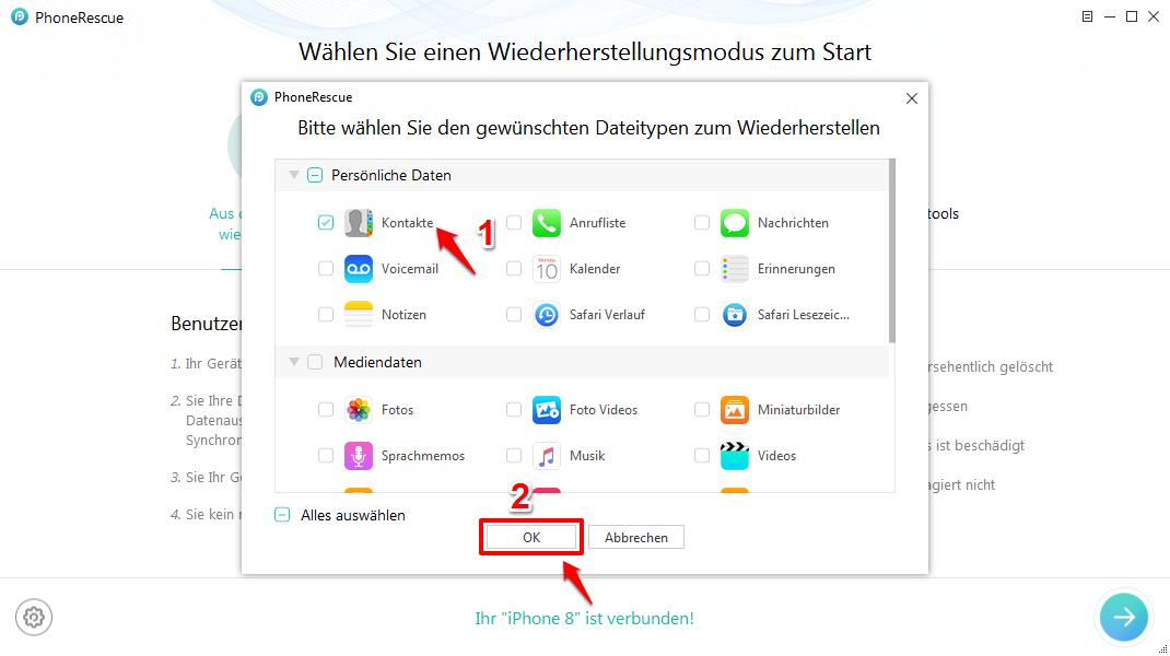 Kontakte vom iPhone X/8 wiederherstellen – Kontakte wählen