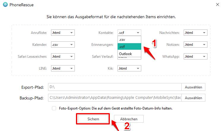 Kontakte wiederherstellen iPhone X/8 – Formate auswählen