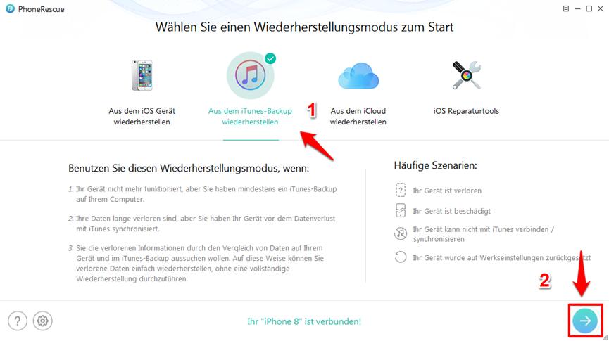 iPhone X/8 lässt sich nicht wiederherstellen – Schritt 1