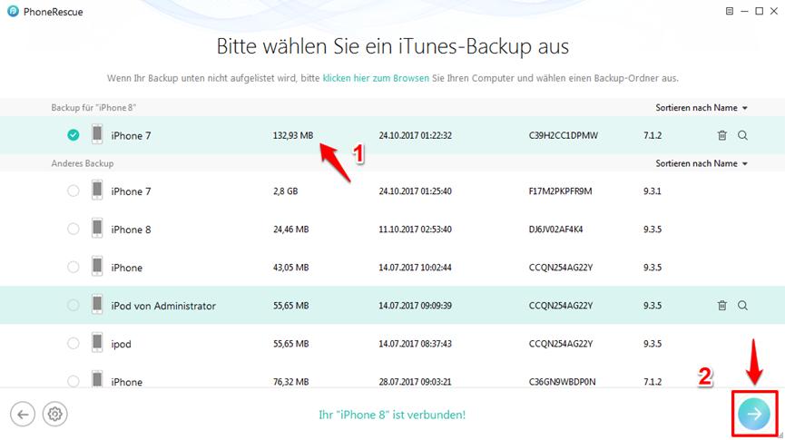 iPhone X/8 lässt sich nicht wiederherstellen – Schritt 2