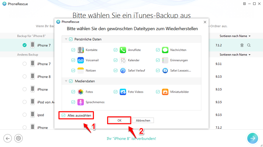 iPhone X/8 lässt sich nicht wiederherstellen – Schritt 3