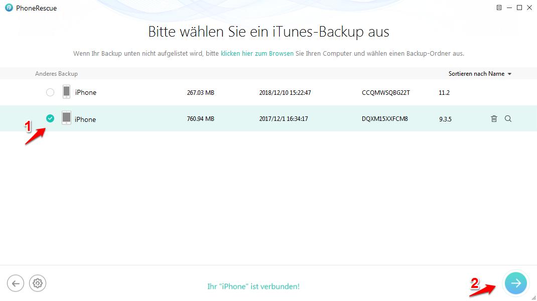 iPhone älteres Backup von iTunes wiederherstellen