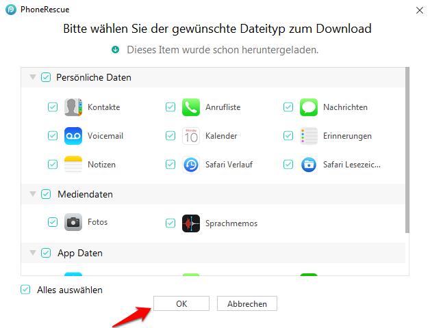 iPhone/iPad älteres Backup wiederherstellen – Dateityp markieren