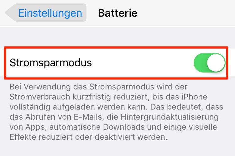 Stromsparmodus einschalten: iPhone 6 Akku schnell leer