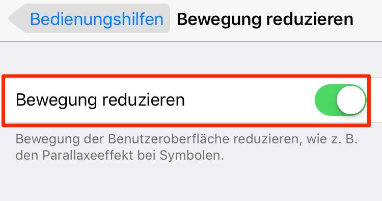 iPhone 6/6s/7/8/X Akku schnell leer: Bewegung reduzieren