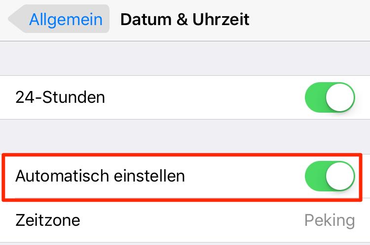Zeitzone einstellen – iPhone 6 Akku schnell lee