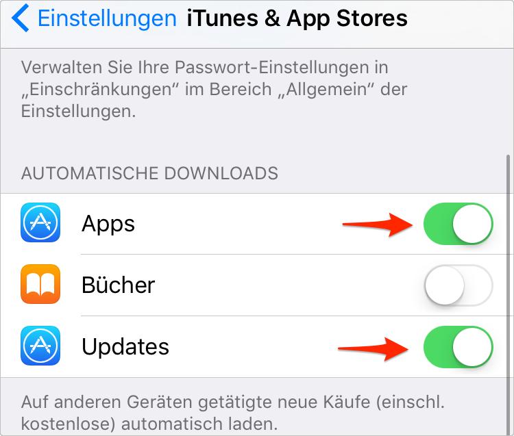 iTunes & App Store Updates deaktivieren – iPhone 6/6s/7/8/X Akku schnell leer