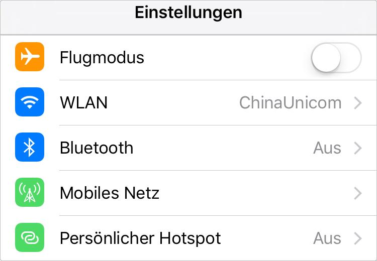 Netzverbinden/Bluetooth einstellen – iOS 12 iPhone Akku sparen
