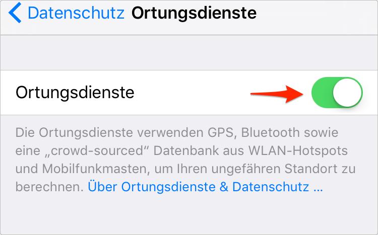 iPhone 8 (Plus) Akku sparen: Ortungsdienste deaktivieren