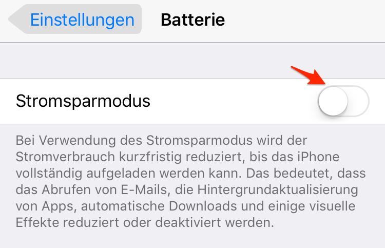 Stromsparmodus einschalten – iPhone Akku schnell leer