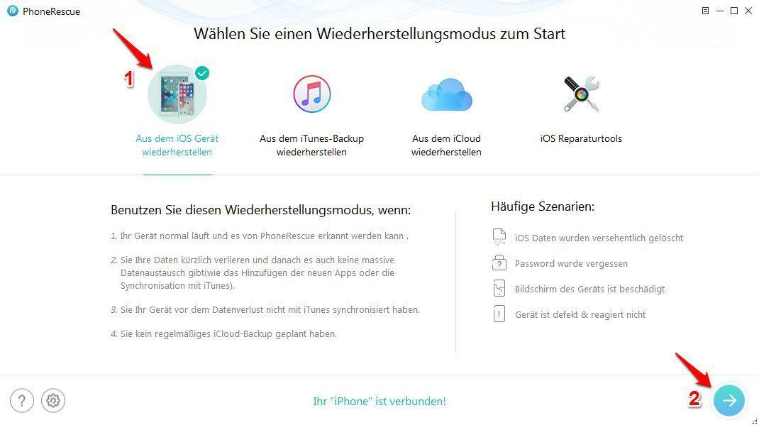 iPhone alte Bilder wiederherstellen - Schritt 1