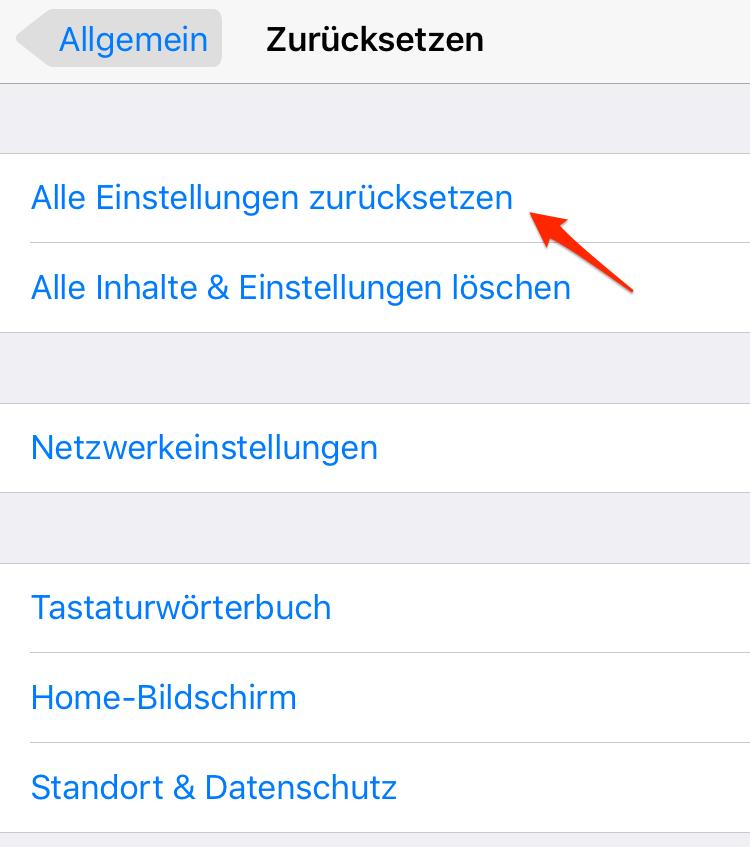 iPhone Einstellungen zurücksetzen – App vom iPhone verschwunden
