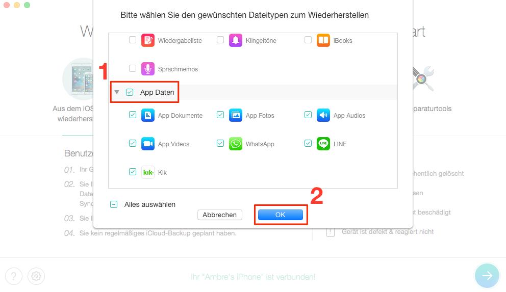 Die Optionen für App-Daten aktivieren – Schritt 2