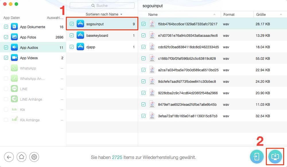 App Daten von verschwunden App iPhones wiederherstellen – Schritt 3