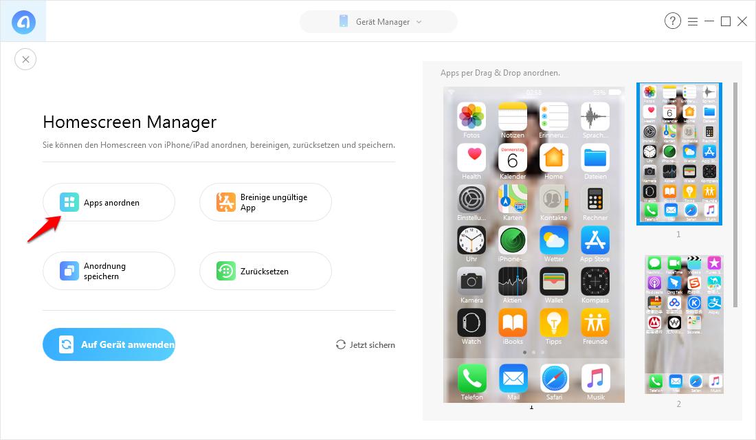 iPhone/iPad Apps sortieren/anordnen – Schritt 2