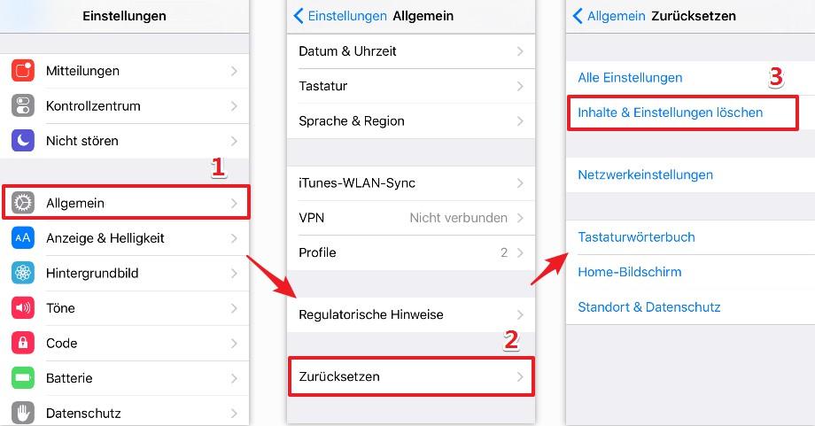 iPhone 7 auf Werkseinstellung zurücksetzen