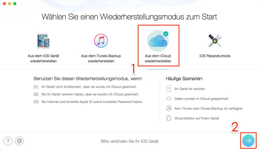PhoneRescue aus iCloud Backup wiederherstellen – Schritt 1