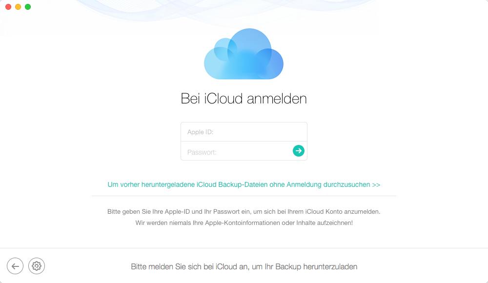 iPhone aus iCloud Backup wiederherstellen: iCloud Account anmelden – Schritt 2