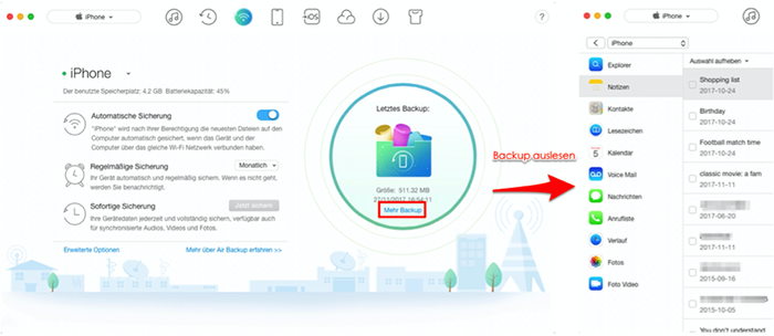 iPhone automatisch Backup – Schritt 3