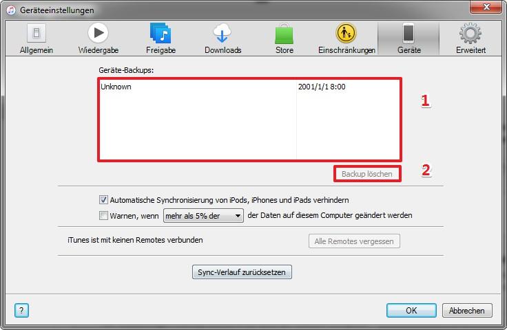 Wie kann ich iTunes Backup löschen