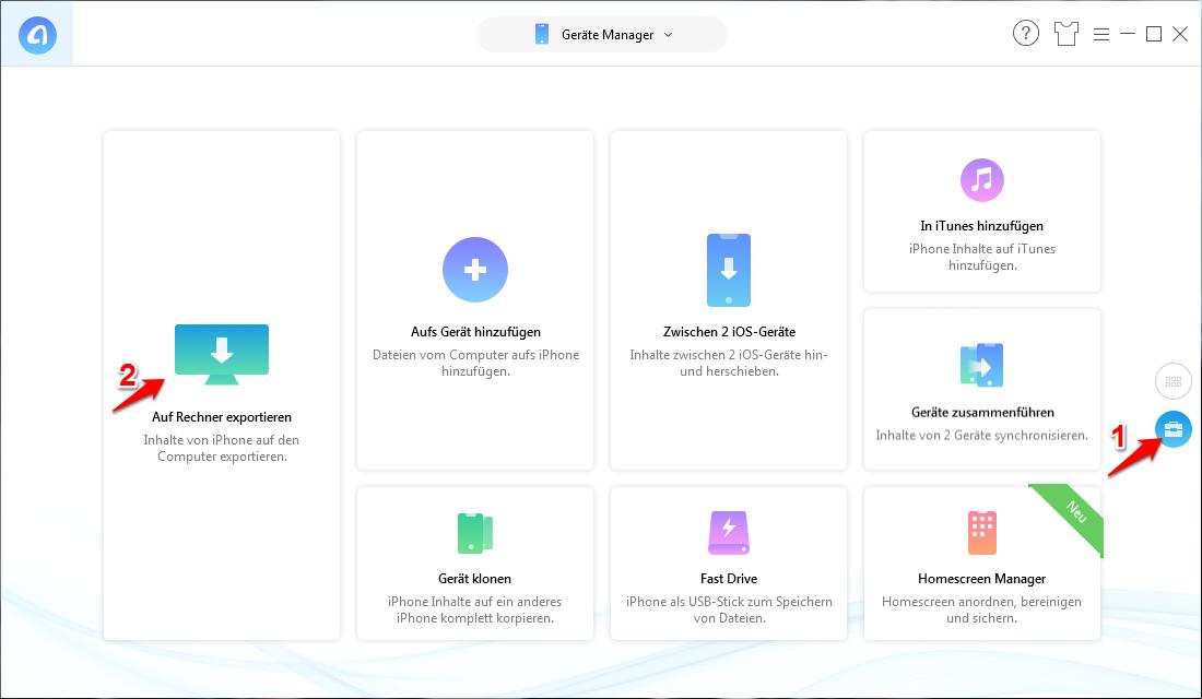 iPhone Backup ohne WLAN – Schritt 1