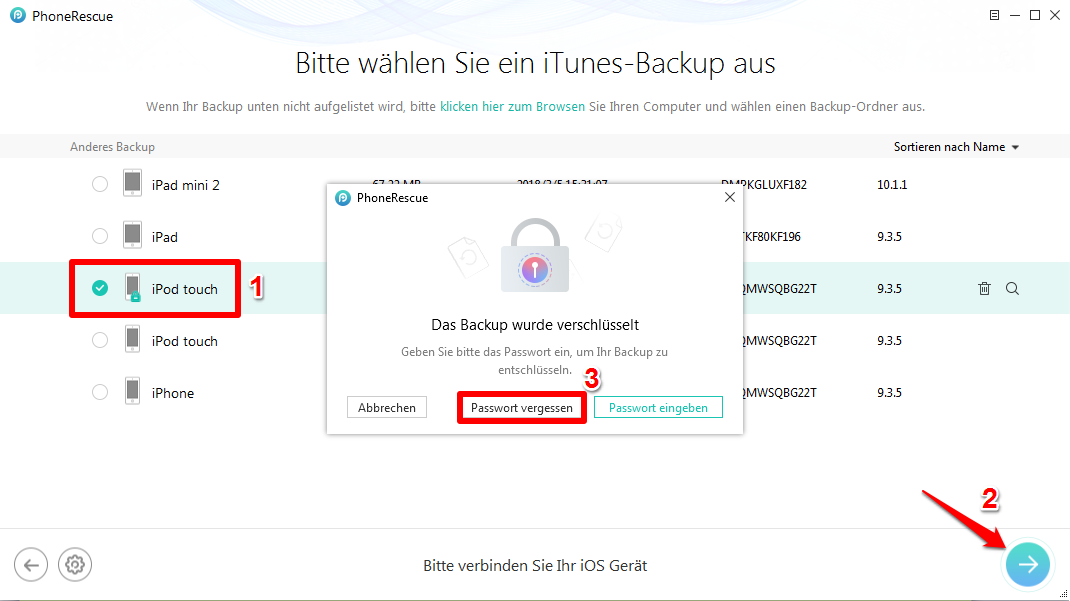iPhone Backup Passwort auslesen Windows - Schritt 2