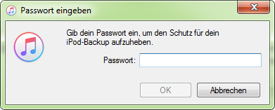 iPhone Backup Passwort vergessen Windows