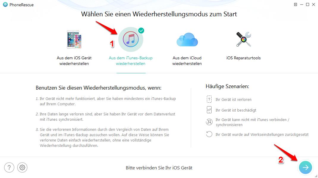 Passwort iPhone Backup vergessen - Schritt 1