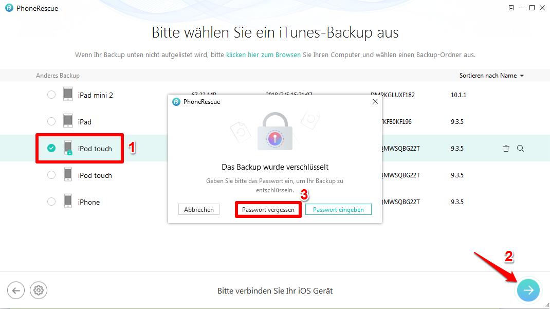 Passwort für iPhone Backup vergessen - Schritt 2