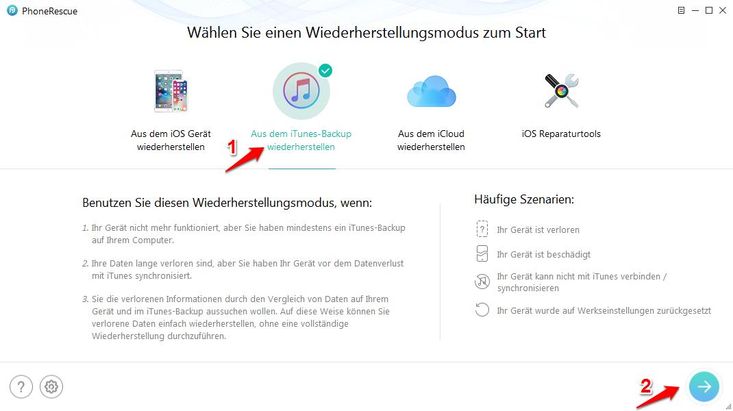 Intelligenter iPhone Backup Unlocker – Schritt 1