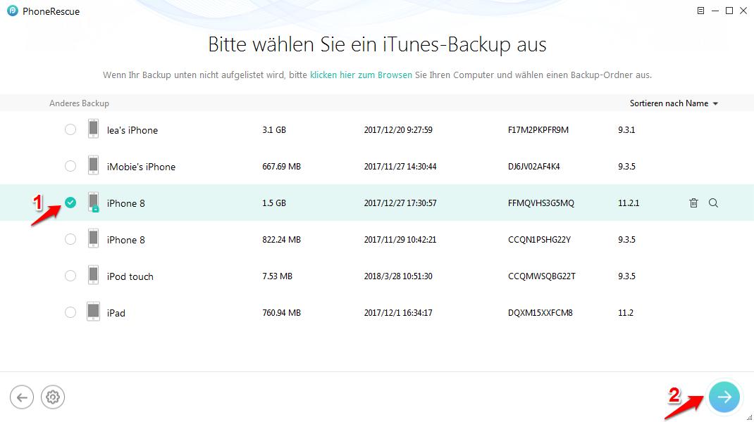 Daten mit iPhone-Backup Unlocker wiederherstellen – Schritt 2