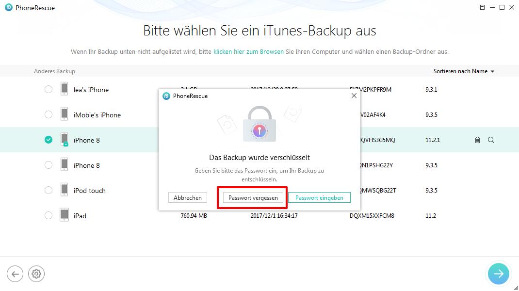 iPhone-Backup Unlocker Erfahrungen – Schritt 3