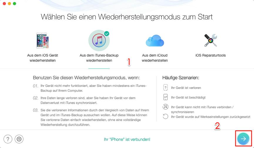 iPhone Backup verschlüsseltes Passwort vergessen – Schritt 1