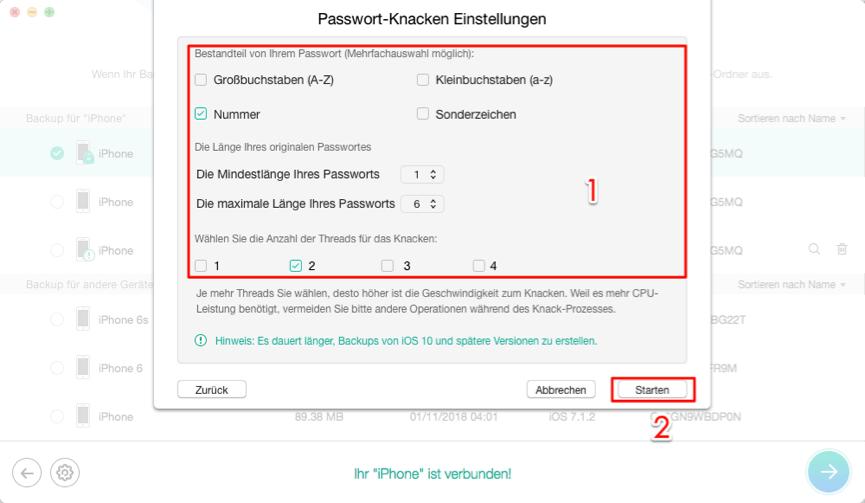 iPhone-Backup Verschlüsselung ohne Backup deaktivieren – Schritt 3