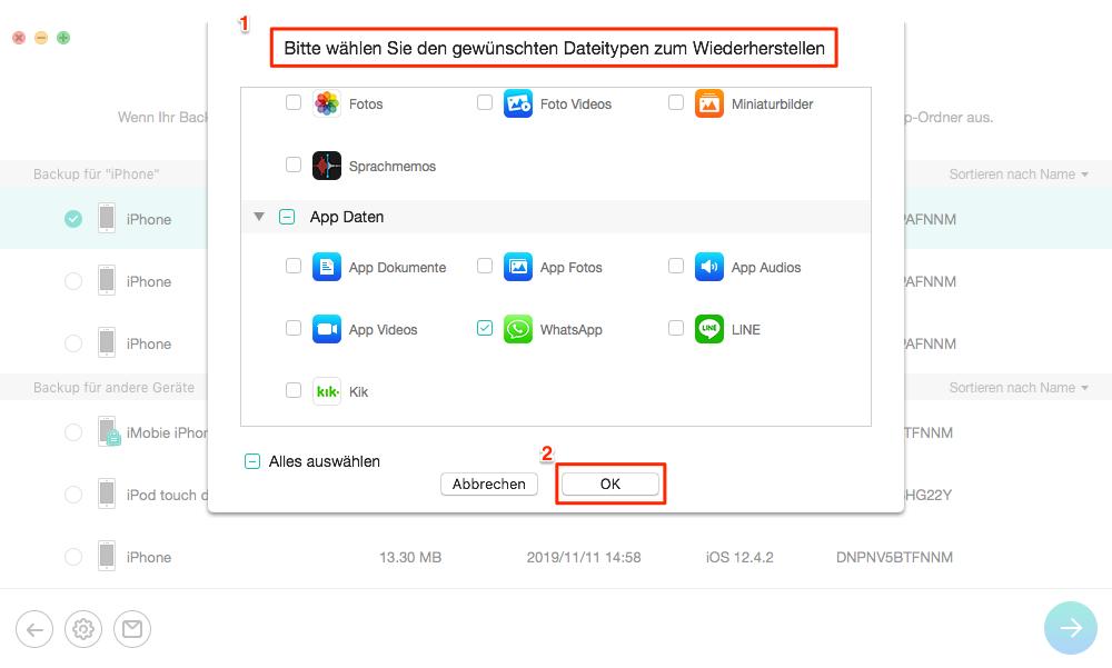 Backup vom iPhone wiederherstellen – Schritt 3